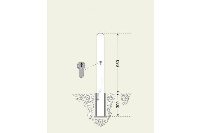 Stadspaal wenen 90mm #1 | Om in te betonneren vast | Groven Store Safety