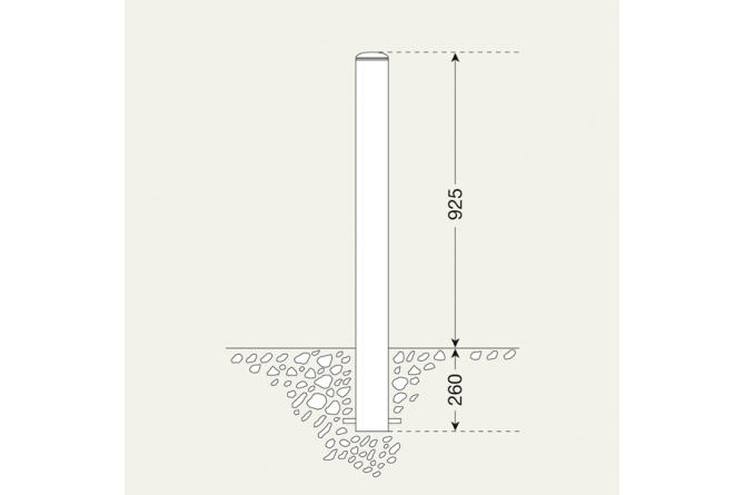 Stadspaal in te betonneren 60mm Ø  #1 | Edelstaal palen | Groven Store Safety