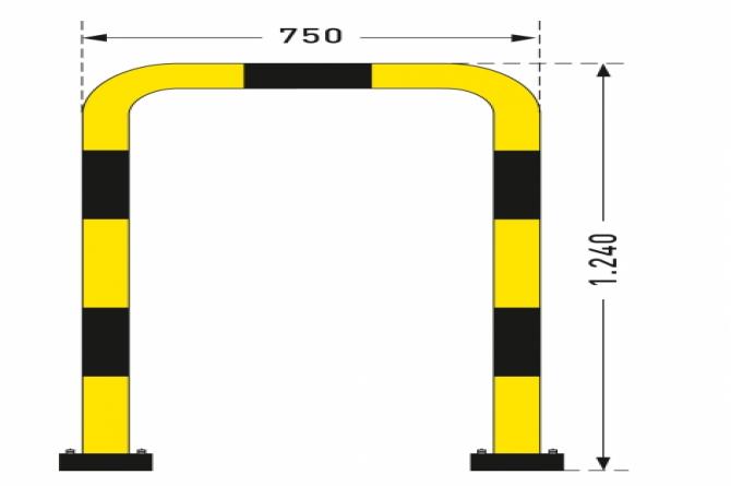 Flexibele aanrijdbeveiliging (1240x750mm) verzinkt en gecoat #1 | Beschermingsbeugel | Groven Store Safety