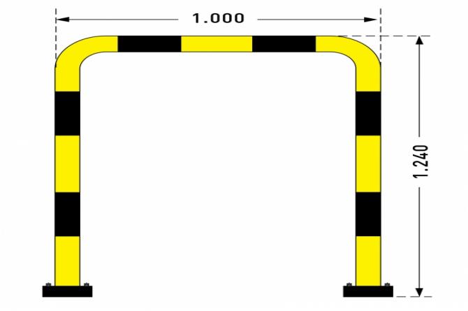 black bull rambeveiligingsbeugel swing 1240x1000mm gele kunststof #1 | Beschermingsbeugel | Groven Store Safety