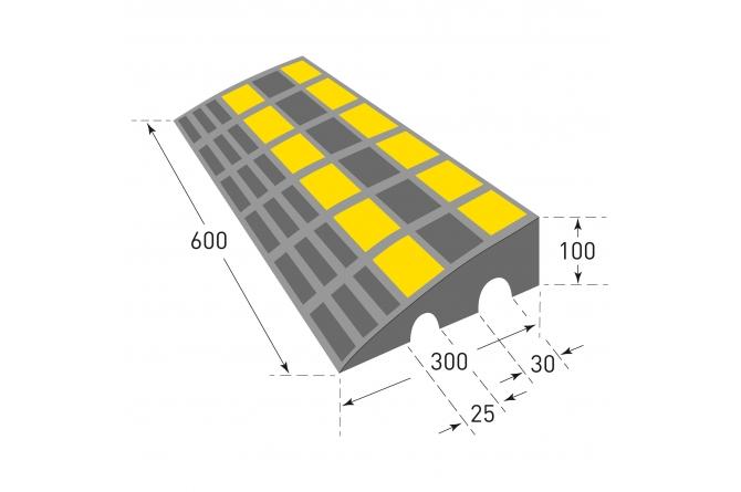 MORION drempelhulp, zwart/geel, reflecterend. 300x600x100mm #1   Drempelhulpen rubber   Groven Store Safety