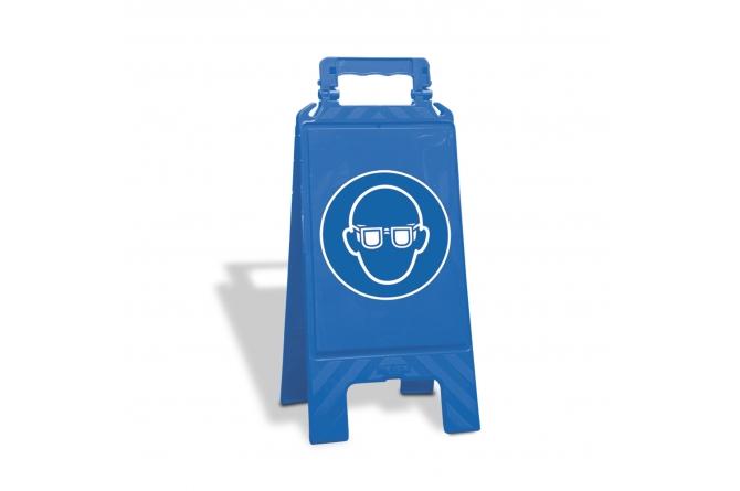 Waarschuwingsbord kunststof blauw, veiligheidsbril verplicht #1   Waarschuwingsborden   Groven Store Safety