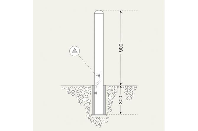 Edelstaalpaal BERLIN 108mm Ø uitneembaar #1 | Edelstaal palen | Groven Store Safety