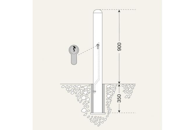 Edelstaalpaal BERLIN 76mm Ø uitneembaar #1   Edelstaal palen   Groven Store Safety