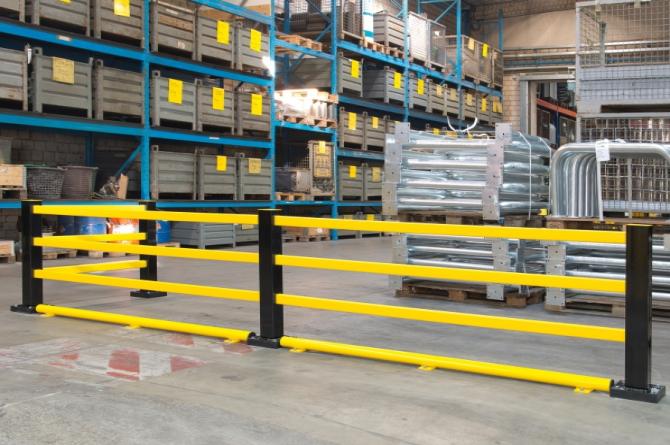 beveiligingsbalk staal met kunststof l1250mm #1 | Wielgeleider | Groven Store Safety