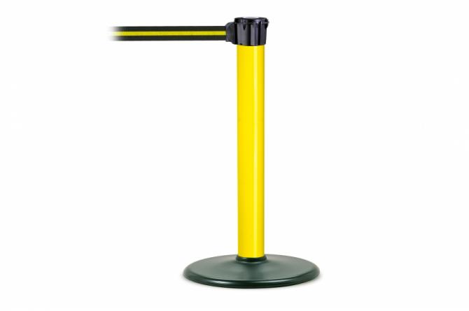 MORION riempaal 955mm geel/zwart #1   Afzetpaal met trekband   Groven Store Safety
