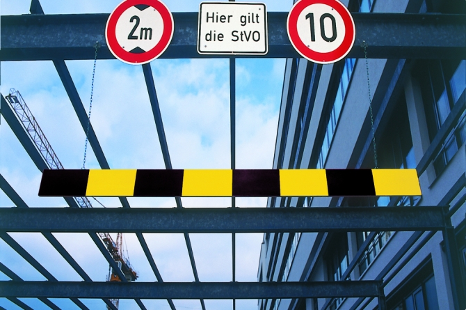 Morion hoogtebegrenzer, aluminium, 4000mm, zwart/geel.  #1   Hoogtebegrenzers   Groven Store Safety